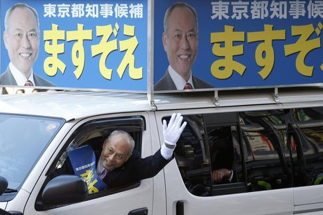Japan's former health minister and candidate of Tokyo gubernatorial election Yoichi Masuzoe waves to voters from a van, while campaigning fo