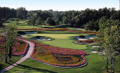 SentryWorld Golf Course's famous Flower Hole #16, which will have more flowers when the course reopens in mid 2014.