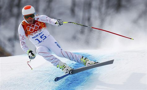 Bode Miller of the U.S. skis in the men's alpine skiing downhill race during the 2014 Sochi Winter Olympics at the Rosa Khutor Alpine Center