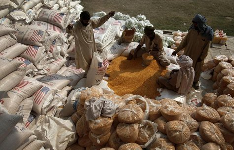 Labourers pack lentils at a distribution point for internally displaced persons (IDPs) in Dera Ismail Khan, Pakistan's restive North West Fr