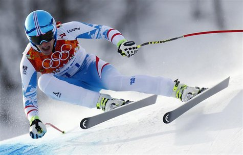 Austria's Matthias Mayer skis in the men's alpine skiing downhill race during the 2014 Sochi Winter Olympics at the Rosa Khutor Alpine Cente
