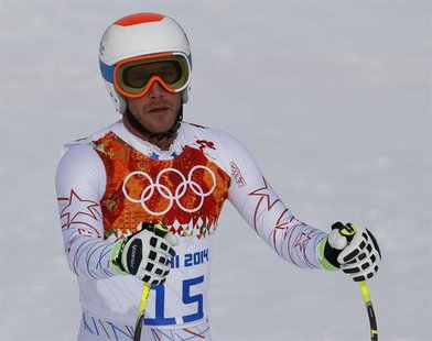 Bode Miller of the U.S. reacts in the finish area after competing in the men's alpine skiing downhill race during the 2014 Sochi Winter Olym