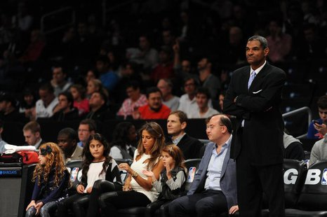 Oct 12, 2013; Brooklyn, NY, USA; Detroit Pistons head coach Maurice Cheeks looks on against the Brooklyn Nets during the first half of the p