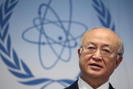 International Atomic Energy Agency (IAEA) Director General Yukiya Amano addresses the media after a board of governors meeting at the IAEA h