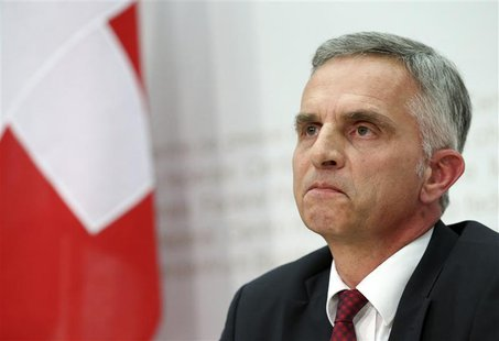 Swiss President and Foreign Minister Didier Burkhalter addresses a news conference on results in Bern February 9, 2014. REUTERS/Thomas Hodel