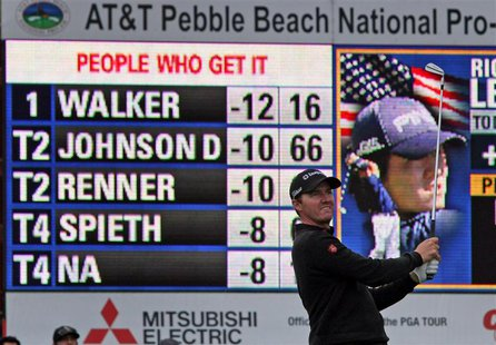 Feb 9, 2014; Pebble Beach, CA, USA; Jimmy Walker tees off on the17th hole at Pebble Beach Golf Links, during the final rounds of the AT&T Na
