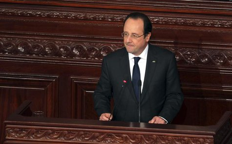 France's President Francois Hollande delivers a speech during the ceremony marking the adoption of a new constitution, at the Constituent As
