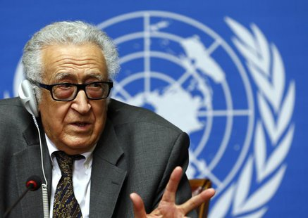 U.N.-Arab League envoy for Syria Lakhdar Brahimi addresses a news conference at the United Nations European headquarters in Geneva January 2