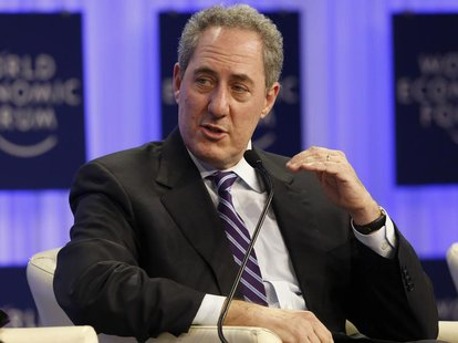 Michael Froman, U.S. Trade Representative gestures during a session at the annual meeting of the World Economic Forum (WEF) in Davos January