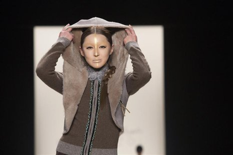 A model presents a creation from the Katya Zol 2014 Fall/Winter collection during New York Fashion Week February 9, 2014. REUTERS/Andrew Kel
