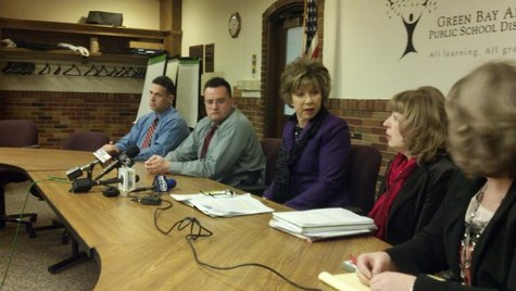 Green Bay School District officials and the Green Bay Police Department hold a joint news conference to discuss the ongoing Preble High School situation on Feb. 10, 2014. (Photo by: WTAQ Reporter Jeff Flynt).