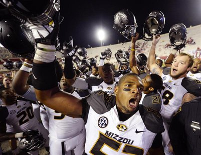 Missouri Tigers defensive lineman Michael Sam (52) reacts after the game at Memorial Stadium after Missouri defeated Indiana 45-28 in Bloomi