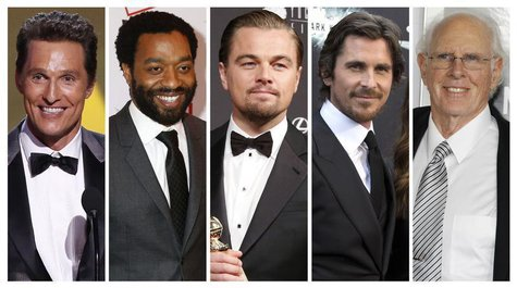 Nominees for the Academy Awards best actor category Matthew McConaughey, Chiwetel Ejiofor, Leonardo DiCaprio, Christian Bale and Bruce Dern