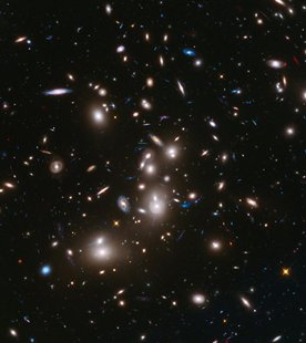 A long-exposure Hubble Space Telescope image of the galaxy cluster Abell 2744, the deepest ever made image of any cluster of galaxies, is se
