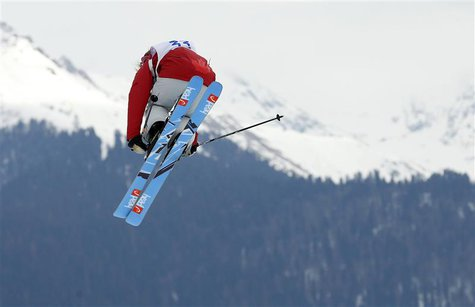 Canada's Kaya Turski performs a jump during the women's freestyle skiing slopestyle qualification event at the 2014 Sochi Winter Olympic Gam