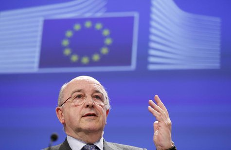 European Union Competition Commissioner Joaquin Almunia speaks during a news conference at the EU Commission headquarters in Brussels Februa