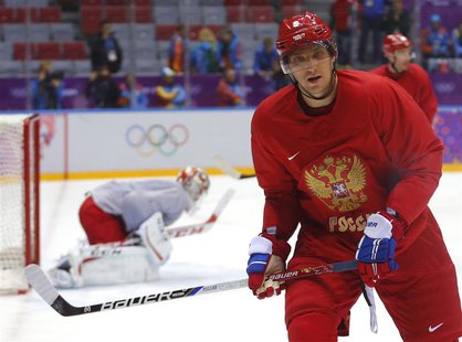 Team Russia's forward Alexander Ovechkin attends team practice in the Bolshoy Ice Dome at the 2014 Sochi Winter Olympics, February 11, 2014.