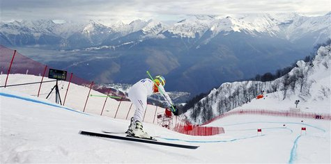Ted Ligety of the U.S. prepares to start his downhill run of the men's alpine skiing super combined training session at the 2014 Sochi Winte
