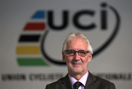 Britain's Brian Cookson, President of International Cycling Union (UCI) poses in the Federation headquarters in Aigle, western Switzerland N