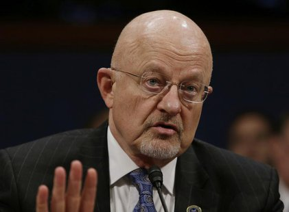 "Director of U.S. National Intelligence James Clapper appears before the House Intelligence Committee on ""Worldwide Threats"" in Washington Fe"