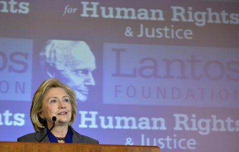 Former U.S. Secretary of State Hillary Clinton makes remarks after receiving the 2013 Tom Lantos Human Rights Prize from the Lantos Foundati
