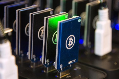 A chain of block erupters used for Bitcoin mining is pictured at the Plug and Play Tech Center in Sunnyvale, California October 28, 2013. RE