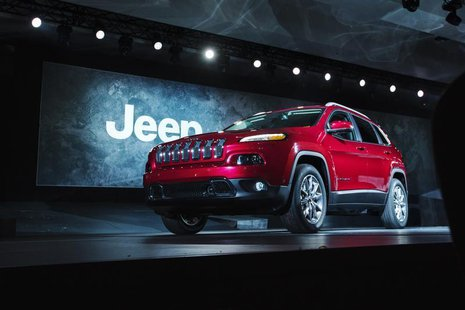 A 2014 Jeep Cherokee is seen on stage after being unveiled at the New York International Auto Show in New York, March 27, 2013. REUTERS/Luca