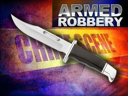 Armed robber with knife robs two different businesses in two different towns.