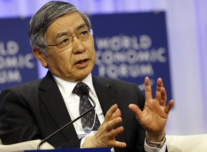Haruhiko Kuroda, Governor of the Bank of Japan speaks during a session at the World Economic Forum (WEF) in Davos January 25, 2014. REUTERS/