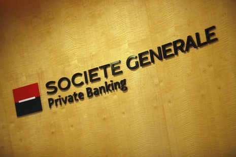 A logo of the Societe Generale Private Banking firm is pictured at its Singapore premises November 28, 2013. REUTERS/Edgar Su