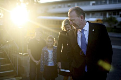 San Diego Republican mayoral candidate Kevin Faulconer walks to a polling station to vote on election day in San Diego, California February