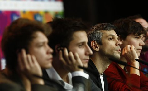 Director Adam Csaszi (2nd R) and his cast Adam Varga (L), Andras Suetoe (2nd L), Sebastian Urendowsky attend a news conference to promote th