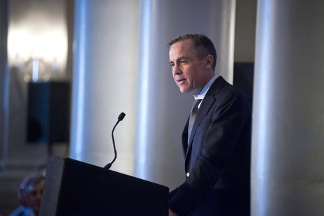 The Governor of Britain's Bank of England, Mark Carney, speaks at an event at which he addressed business leaders and the media in Edinburgh