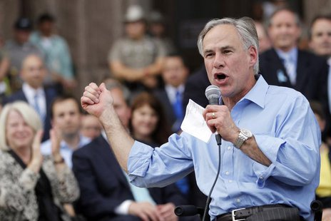 Texas Attorney General Greg Abbott speaks during an anti-abortion rally at the State Capitol in Austin, Texas, July 8, 2013 file photo. REUT