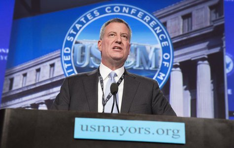 New York Mayor Bill de Blasio delivers remarks at the plenary session of the U.S. Conference of Mayors in Washington January 23, 2014 file p
