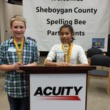 Pictured: Jackson Pond (left) and Janine Moreno are pictured at the Sheboygan County Spelling Bee.