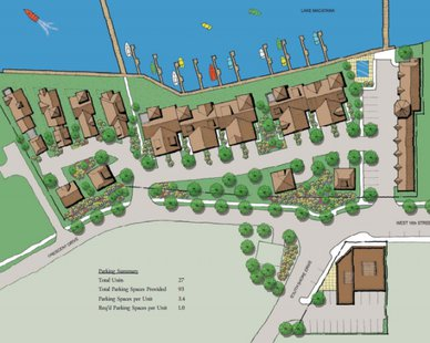 A conceptual color plan for the Crescent Shores Marina development (courtesy Nederveld Inc.)