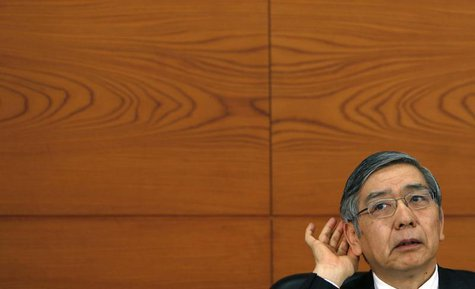 Bank of Japan Governor Haruhiko Kuroda gestures as he listens to questions from reporters during a news conference at the BOJ headquarters i
