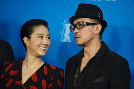 "Cast members Gwei Lun-Mei and Wang Xuebing (R) pose during a photocall to promote the movie ""Black Coal, Thin Ice"" at the 64th Berlinale Int"