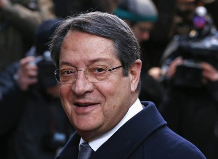 Cyprus' President Nicos Anastasiades arrives at a European Union leaders summit at the EU council headquarters in Brussels December 20, 2013