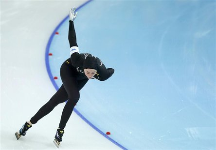 Heather Richardson of the U.S. skates during the women's 1,000 metres speed skating race at the Adler Arena during the 2014 Sochi Winter Oly