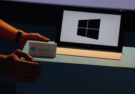A Microsoft Surface tablet is seen during the launch of Microsoft Windows 8 operating system in Hong Kong October 26, 2012. REUTERS/Bobby Yi