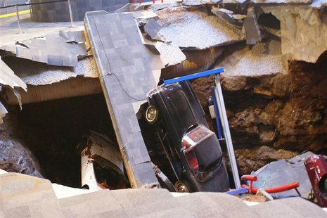 A 40-foot sinkhole that opened up under the National Corvette Museum and swallowed eight Corvettes, including the historic 1992 White 1 Mill