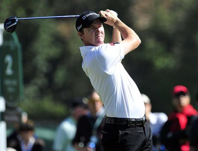 February 13, 2014; Pacific Palisades, CA, USA; Jimmy Walker hits from the second hole tee during the first round at Riviera Country Club. Ma