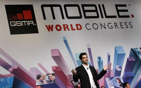 Viber's Founder and Chief Executive Marco Talmon gestures during a news conference at the Mobile World Congress in Barcelona in this Februar