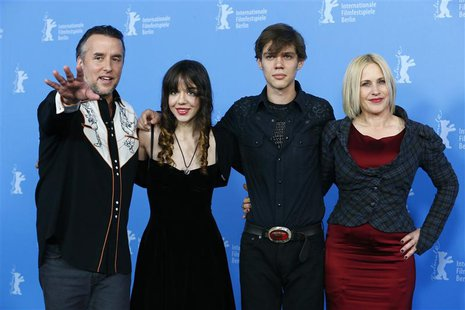 Director, screenwriter and producer Richard Linklater and cast members Lorelei Linklater, Ellar Coltrane and Patricia Arquette (L-R) pose du