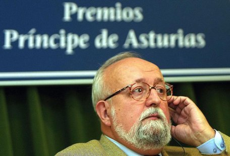 Polish composer and conductor Krzysztof Penderecki listens to a question during a news conference at the Prince of Asturias Awards foundatio