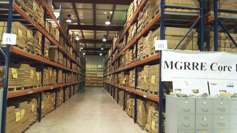 Their are four more aisles like this at the rock repository, that provide an underground profile of Michigan's lower peninsula.