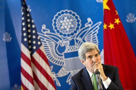 U.S. Secretary of State John Kerry listens to a question during a discussion with Chinese bloggers in Beijing February 15, 2014. REUTERS/Eva