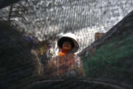An anti-government protester sits behind a barricade near Government Complex in Bangkok February 15, 2014. REUTERS/Athit Perawongmetha